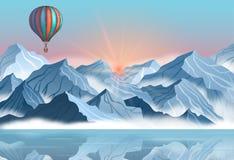Paisagem da montanha com o balão de ar quente colorido no estilo 3d realístico Bandeira com os penhascos azuis do inverno, névoa, ilustração do vetor