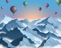 Paisagem da montanha com os balões de ar quente coloridos no estilo 3d realístico Penhascos azuis do inverno com névoa ilustração stock