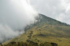 Paisagem da montanha contra um fundo nevoento fotografia de stock