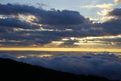 Paisagem da montanha da manhã com as ondas da névoa Imagem de Stock Royalty Free