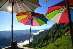 Paisagem da montanha da manhã com as ondas da névoa e de grande multicolorido Foto de Stock