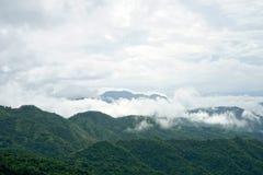 Paisagem da montanha da manhã com as ondas da névoa e do céu nebuloso Imagem de Stock Royalty Free