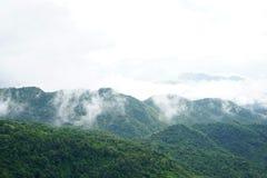 Paisagem da montanha da manhã com as ondas da névoa e do céu nebuloso Wav Fotos de Stock