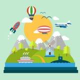 A paisagem da montanha do conceito, árvores, foguete de voo, envia Fotos de Stock