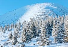 Paisagem da montanha do inverno do nascer do sol Fotos de Stock