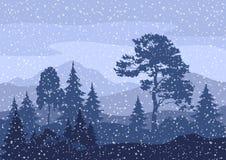 Paisagem da montanha do inverno do Natal Fotos de Stock