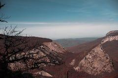 Paisagem da montanha do outono Floresta vermelha e céu azul imagens de stock