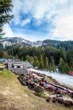 Paisagem da montanha Floresta, montanhas, céu e neve do abeto Italy Foto de Stock