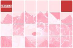 A paisagem da montanha da grade telhou a abstração cor-de-rosa com inserções vermelhas Fotos de Stock Royalty Free