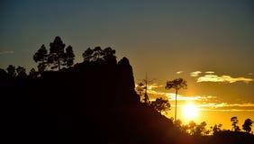 Paisagem da montanha no por do sol, Gran canaria Imagens de Stock