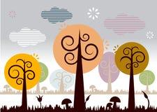 Paisagem da natureza com árvores Imagens de Stock Royalty Free