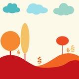 Paisagem da natureza com árvores e nuvens Fotografia de Stock