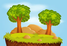 Paisagem da natureza com árvores e pedras Fotos de Stock