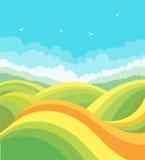 Paisagem da natureza com campos e os pássaros verdes no bl Fotos de Stock Royalty Free