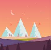 Paisagem da natureza com montanha, lua, estrelas, floresta, campo Cores violetas, verdes, alaranjadas, azuis Fotografia de Stock
