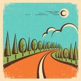 Paisagem da natureza do vintage com estrada Imagens de Stock