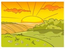 Paisagem da natureza dos desenhos animados Imagens de Stock