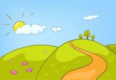 Paisagem da natureza dos desenhos animados Fotos de Stock Royalty Free