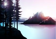 Paisagem da natureza, floresta da montanha e lago Imagem de Stock