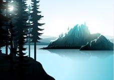 Paisagem da natureza, floresta da montanha e lago Fotos de Stock
