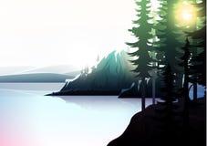 Paisagem da natureza, floresta da montanha e lago Foto de Stock