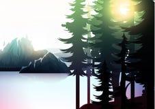 Paisagem da natureza, floresta da montanha e lago Imagens de Stock Royalty Free