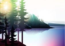 Paisagem da natureza, floresta da montanha e lago Foto de Stock Royalty Free