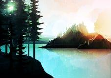 Paisagem da natureza, floresta da montanha e lago, estilo da aquarela Imagem de Stock