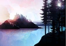 Paisagem da natureza, floresta da montanha e lago, estilo da aquarela Imagens de Stock Royalty Free
