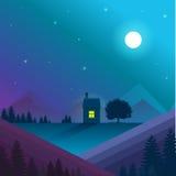 Paisagem da natureza Vetor, eps10 Paisagem da natureza da noite com casa só Fotos de Stock Royalty Free