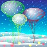 Paisagem da neve com árvores e confetes Imagem de Stock