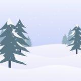 Paisagem da neve com pinheiros Cena e fundo do inverno Ilustração do vetor Foto de Stock