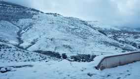 Paisagem da neve da montanha foto de stock