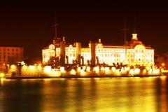 Paisagem da noite com o navio Fotografia de Stock Royalty Free