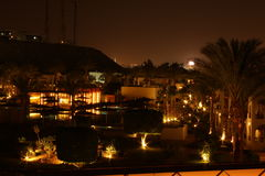 Paisagem da noite com palmeiras e lanternas Fotografia de Stock Royalty Free