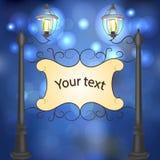 Paisagem da noite com postes de luz do vintage Imagem de Stock