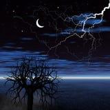 Paisagem da noite com relâmpago ilustração stock