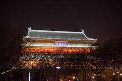 Paisagem da noite da torre antiga do cilindro de Xian imagens de stock royalty free