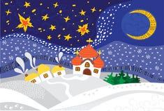 Paisagem da noite de Natal Imagens de Stock Royalty Free