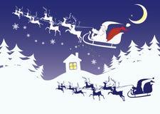 Paisagem da Noite de Natal em um estilo dos desenhos animados Imagens de Stock