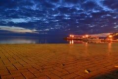 Paisagem da noite de Ohrid foto de stock
