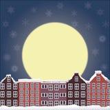 Paisagem da noite do inverno Fotos de Stock