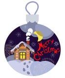 Paisagem da noite do inverno em uma bola de vidro do Natal Ilustração do Vetor