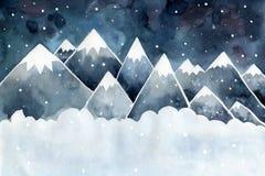 Paisagem da noite do inverno Montanhas altas, flocos de neve e trações ilustração royalty free