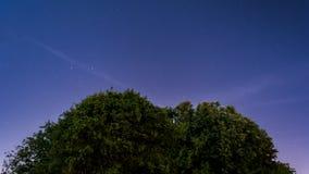 Paisagem da noite estrelado, fundo da noite foto de stock royalty free