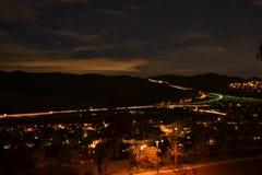 Paisagem da noite residencial foto de stock