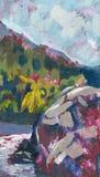 Paisagem da pintura a óleo ilustração do vetor