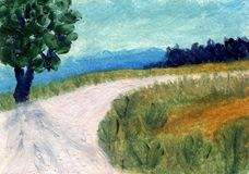 Paisagem da pintura a óleo Imagem de Stock Royalty Free
