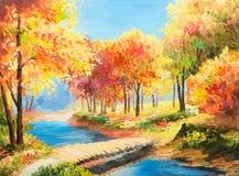 Paisagem da pintura a óleo - floresta colorida do outono Fotografia de Stock Royalty Free