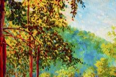 Paisagem da pintura a óleo na lona - árvores coloridas do outono ilustração do vetor